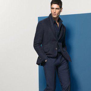 NWT Massimo Dutti Blue Linen Blazer / Sport Coat